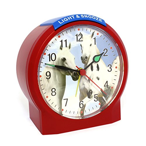 Atlanta Kinderwecker Pferde Rot Ohne Ticken Analog Quarz - 1189-1