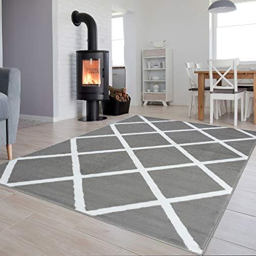Tapiso Luxury Teppich Kurzflor Grau Weiss Modern Geometrisch Karo Diamant Viereck Gitter Muster Wohnzimmer ÖKOTEX 200 x 300 cm