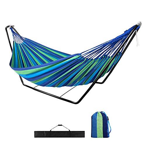 Photo of Hammock with Stand,Garden Outdoor Camping Hammock with Frame,Kid Indoor Double Swing Hammock with Metal Stand for Travel Patio,Child Adult Large Portable Rainbow Cotton Hammock with Carry Bag(blue)