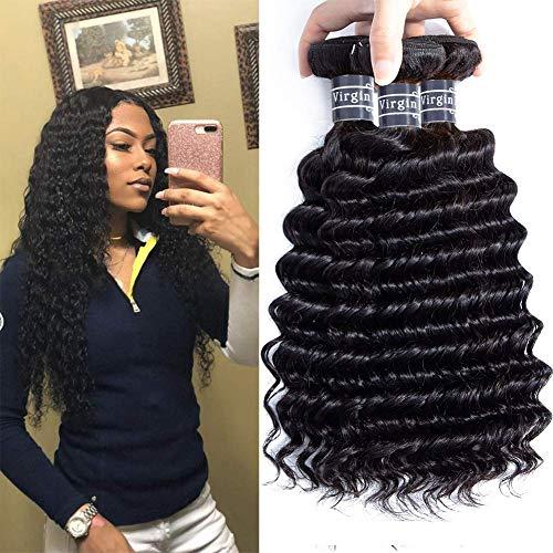 Amella Hair 8A Grade Brazilian Hair Deep Wave Virgin Human Hair Extensions Brazilian Curly Hair Weave 3 Bundles Unprocessed Natural Color 12 14 16inch