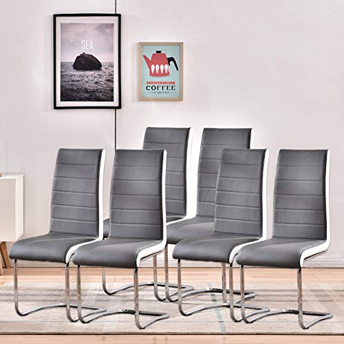 Dining Room Chairs Set of 6,Modern Indoor Kitchen Chairs,Sturdy Chrome Chair Legs and Faux Leather,Ergonomic Design with High Back Soft Padded for Home Kitchen:W 16.5'x D 16.9'x H 39.8'(6 Grey Chairs)