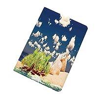 Pad ケース iPad2 ケース iPad3 ケース iPad4 ケース オーシャンアイランドの装飾 エキゾチックなセーシェルの夢のような曇り空と黄金の砂浜の日ホット写真 スタンド機能 レザー(PU) オートスリープ 傷つけ防止 イプ iPad2/3/4世代専用スマートカバー ブルークリームホワイト