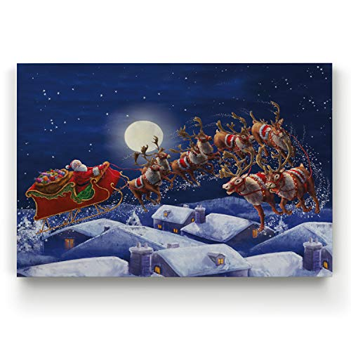 Renditions Gallery Gallery Wrapped Canvas Christmas Wall Art Print for Holiday Decor, 36x48, Santa with Sleigh