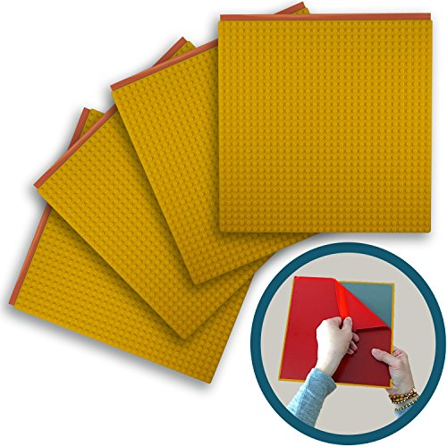 "Peel-and-stick Baseplates - Self Adhesive Brick Building Plates - Compatible With Most Major Brands Of Building Bricks - 4 Pack (10"" X 10"") - By Creative Qt (4, Yellow)"