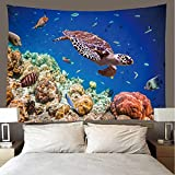 H/H Tapiz 3D Sea Turtle Tapices Mat Manta De Toalla De Playa, Sábana De Playa De Picnic, Boho, Colgante De Pared Decorativo 260(H) X300(An) Cm