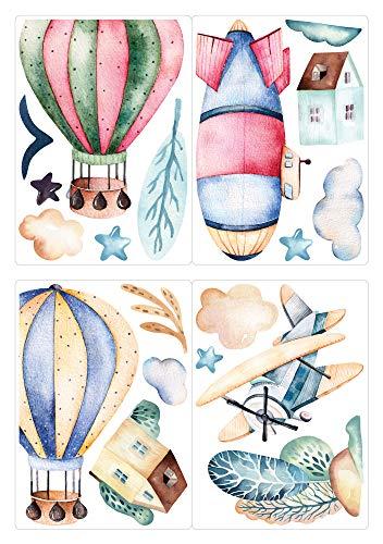 dekodino® Fenstersticker Kinderzimmer Aquarell Heißluftballon und Zeppelin