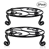 Yimobra 2 Pack Plant Stand for Flower Pot Heavy Duty Potted Holder Indoor Outdoor Metal Rustproof Iron Garden Container Round Supports Rack for Planter Bronze/Brown (11.8Inches, Black)