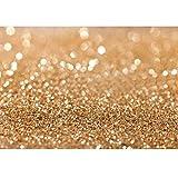7x5ft Gold Glitter Sequin Spot Backdrop New Vinyl Cloth Less Crease Computer Printed Bokeh Party Wedding Children Newborn Photography Backgrounds Studio Prop