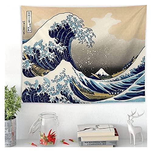 Tapiz Impreso Pared Colgante Tapiz japón Kanagawa Ondas tapices Boho Colcha Bohemian Estilo Colgante Yoga Alfombra Manta Decoración de Arte (Color : B, tamaño : 148x130cm)