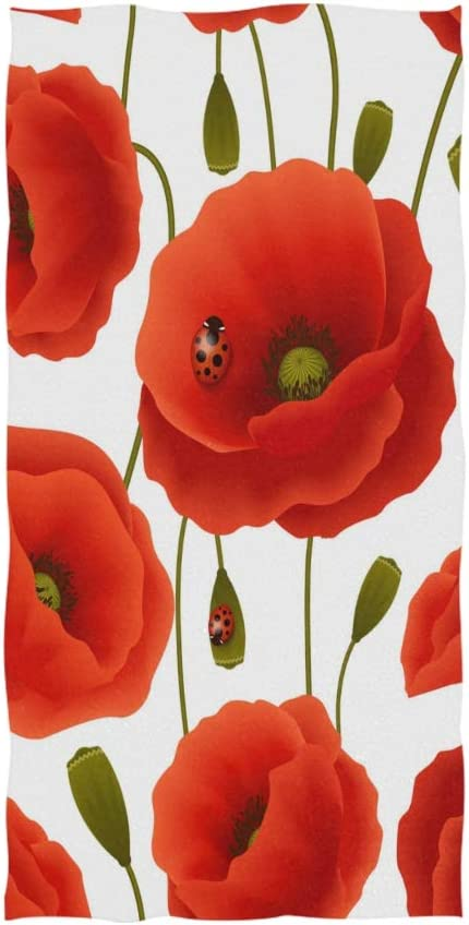 SUABO Poppy Flowers Hand Towel Face 30x Cotton Max 51% OFF Dish free Towels
