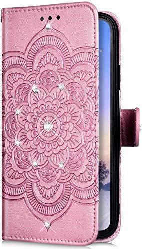 Uposao Kompatibel mit Huawei Mate 30 Pro Hülle Leder Handyhülle Bling Glitzer Strass Diamant Mandala Blumen Muster Brieftasche Schutzhülle Flip Case Klapphülle Handy Tasche Etui,Rose Gold
