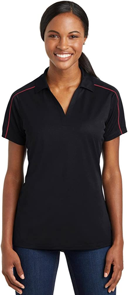 SPORT-TEK Ladies Micropique Sport-Wick Piped Polo, Large, Black/True Red