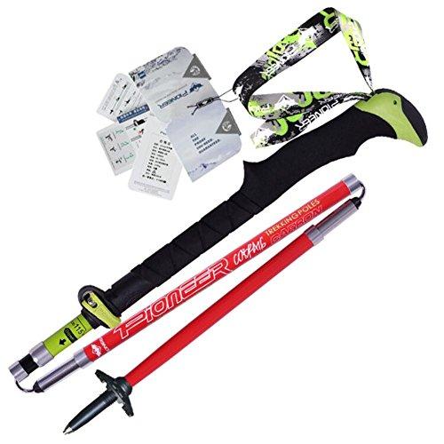 Bâtons de randonnée Fibre de carbone extérieure Ultraléger Folding Short Sticks Alpenstock Pole Escalade Walking Trekking Polonais