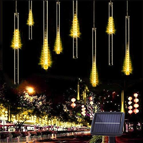 10 Tubes 30CM 360 LED Solaire Météores Pluie Lumières, KEEDA Guirlandes Lumineuses Imperméable Lumiere de Noel Exterieur pour Noël Mariage Parti Jardin D'arbre Décor (Blanc Chaud)