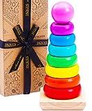 Jaques Von London Regenbogen Stapelturm | Montessori Spielzeug ab 3 Jahr | Qualität Holz Spielzeug | Seit 1795