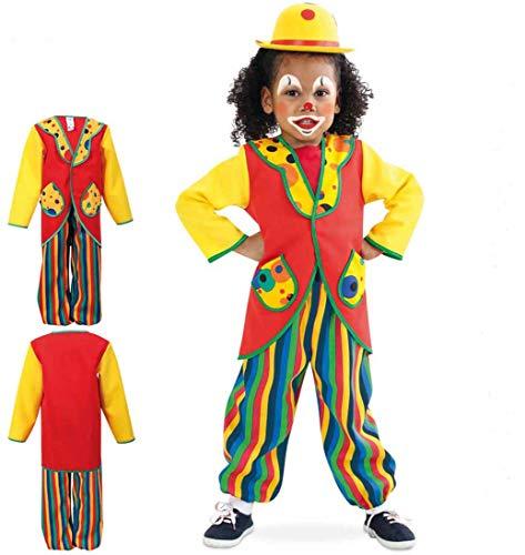 KarnevalsTeufel Anzug Clowni, buntes Clown-Kostüm für Kinder, 2-teilig, bestehend aus Oberteil und Hose (116)