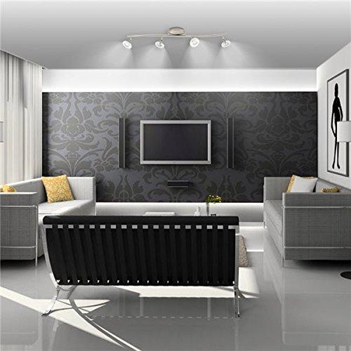 Xelux - Plafonnier luminaire Rampe de Plafond Acier brossé 4 Spots orientables 4 x 35 W culot GU 5.3