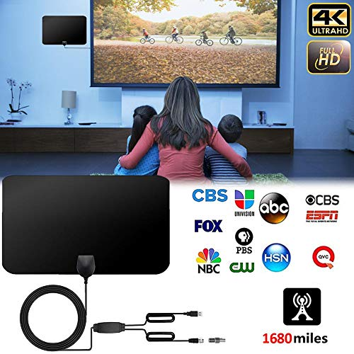 Antena de TV, Antena Interior HDTV con Portatil Amplificador, 60-80 Millas Gama de Recepción, Obtenga Muchos Canales de TV Gratis, Fácil de Usar e Instalar