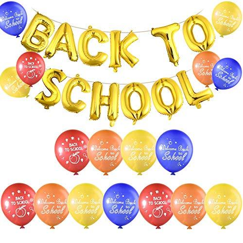 Elumaxon Terug naar School Ballon Banner met 40 Stks Welkom Terug naar School Latex Ballonnen voor Eerste Dag van School Decoraties, Klas Feestartikelen