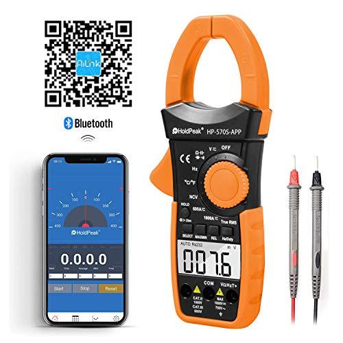 Holdpeak HP-570S Pinza amperimétrica con Bluetooth, 6000 cuentas Multímetro digital de pinza con rango automático, NCV 1000A CA/CC Corriente Volt Resistencia Capacitancia Continuidad Temperatura Diodo