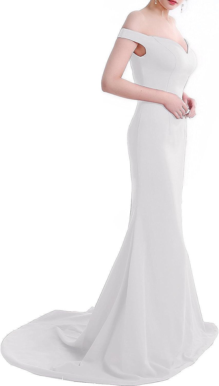 BessWedding Women's Long Off The Shoulder Mermaid Prom Dresses Mermaid Satin 2018 Formal Evening Gowns BP105