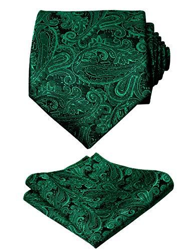 Alizeal Alizeal, Krawatte mit Einstecktuch, Paisleymuster, handgefertigt, Dunkelgrün