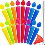 16 Pieces Silicone Ice Pop Molds with Lid Ice Popsicle Molds Colorful Freeze Pop Mold DIY Push Popsicle with Funnel and Small Brush for Home Ice Maker Tool
