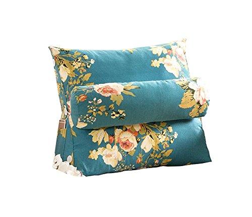 Réglage triangulaire Coussin / coussin de cale arrière, canapé-lit de bureau Toile Coussins de grand repos Coussin de soutien au cou (fleurs bleues) ( taille : 45*50*22cm )