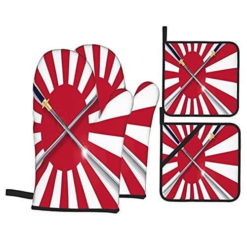 Juego de 4 Manoplas para Horno y Soportes para ollas,la Bandera Japonesa del Sol Naciente en Rojo y Blanco con Dos Espadas samuráis Cruzadas,Guantes para Barbacoa con ,Asar