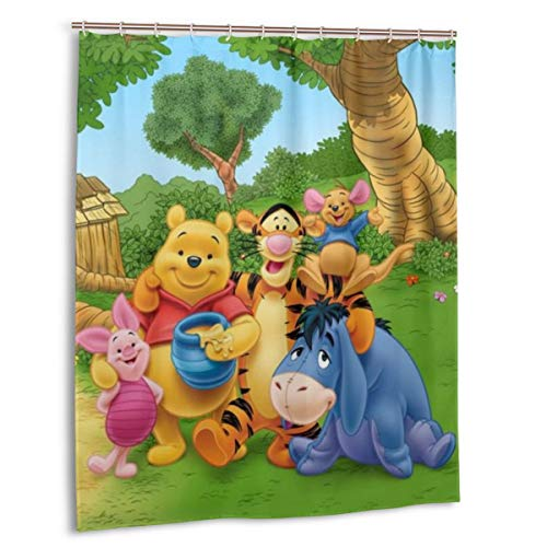 Yuange Winnie The Pooh Shower Curtain Lined with Waterproof Polyester Fabric Shower Curtain Fabric Shower Curtain 12 Hook 60 X 72 Inch