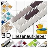 Grandora 4 Adhesivos 28,6 x 5,4 cm Diferentes Tonos de Gris Etiqueta Adhesiva Design 5 I 3D Diversidad lámina para Azulejos y baldosas Cocina de baño