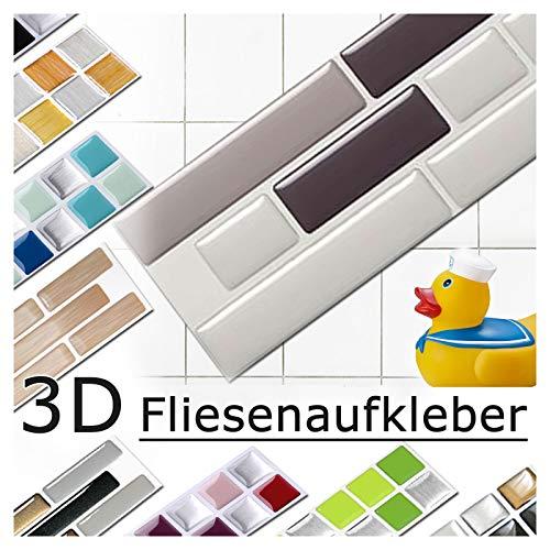 Grandora 4er Set 28,6 x 5,4 cm Fliesenaufkleber Verschiedene Grautöne Fliesensticker Design 5 Mosaik 3D-Effekt Aufkleber Küche Bad Fliesendekor selbstklebend W5288