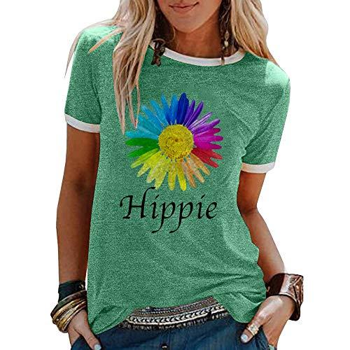 Camisetas de Hippie Estampadas de Dibujos Animados para Mujer Camisetas Divertidas de Manga Corta con Cuello Redondo Informal
