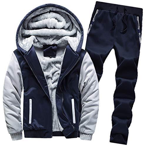 BaZhaHei Uomo Top,Uomo Zip Felpe Giacche Invernali Caldo Tuta Cappotto Hooded Sweatshirt Cappuccio Pantaloni 2 Pezzi Jogging Palestra Set (Dark Blue, M)