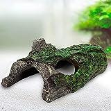 AQQA Decoración para acuario, tronco de árbol, agujero para acuario, cueva para ocultar peces.