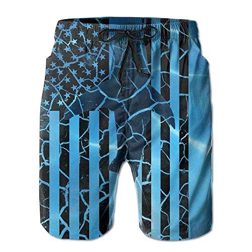 GOSMAO Hombres 's Shark USA Flag Crack Quick Dry Summer Beach Surfing Board Shorts Swim Trunks Cargo Shorts
