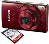 Canon PowerShot ELPH 190 IS Digital Camera (Red) w/ 16GB SDHC SD Card
