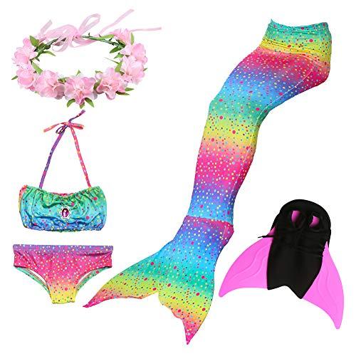 Liebe Kids Meisje Kinderen Kinderen Zeemeermin Staart Zwemmen Kostuum 5 Stks Bikini Zwembare Sets met vin en Hoofdband voor Cosplay Party