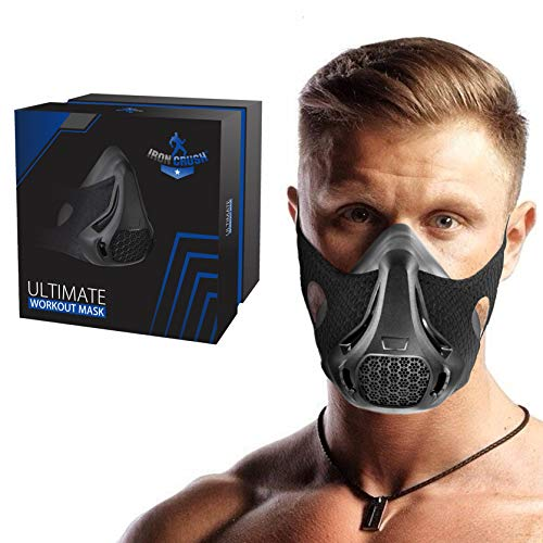 Iron Crush Workout Mask for Training – Running Mask for Respiratory Strength Boosting – 24 Breathing Resistance Levels High Altitude Exercise Masks for Men and Women
