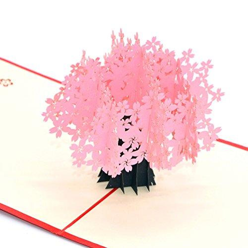 Medigy Carte d'Anniversaire Faite � Main 3D Pop Up Kirigami Creux Cerisiers en fleurs Pliable Carte Postale de Voeux pour Anniversaire Mariage Saint Valentin avec Enveloppe