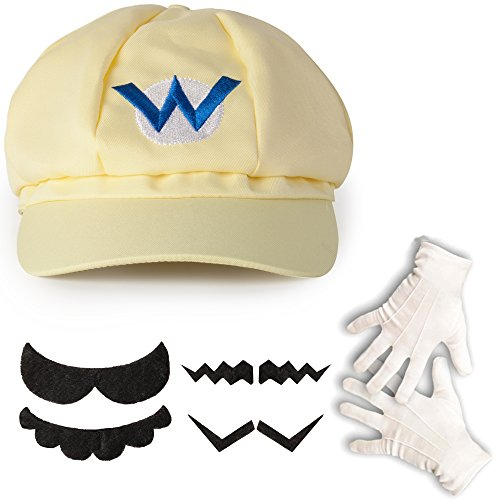 Katara 1659 Kit Costume de Super Mario - Casquette de Wario, Gants Blancs, 6 Fausses Moustaches Enfants Adultes, Jaune