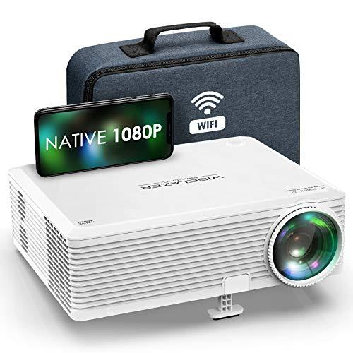"Proyector Full HD 1080p Nativo,WISELAZER Mini Proyector WiFi 5G con Función Zoom,200"" Pantalla Grande,Corrección Electrónica Trapezoidal,Proyector de Video Compatible con HDMI/USB/Smartphone/ TV Stick"