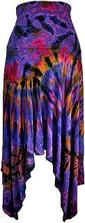 Amazing Grace Elephant Co Women's Tie-Dyed Summer Chic Ethnic Stretchy Trendy Fashion 2-Way Skirt w Handkerchief Hem