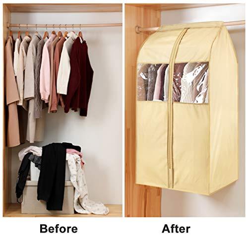 Tsing Moth Proof Garment Bags Garment Covers 420D Oxford Fabric Garment Bags for Closet Storage PVC Windows Closet Garment Protector Bags Overcoat Clothing Bags Storage Hanging-Beige-32''W 23''D 43''H