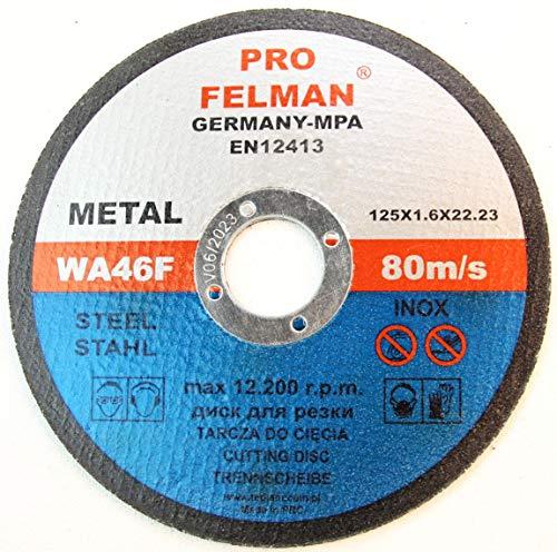 Lot de 10 disques à tronçonner en acier inoxydable pour acier, métal, acier inoxydable 125 x 1,6 x 22,23 mm T41 A60 RBF Felman Pro