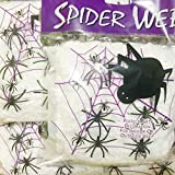 Halloween Spider Webs Spiderwebs With Plastic Spiders(200 Square Feet/pack) - Every pack 60g & 6 Fake Spiders, Halloween Decorations - 1 pack