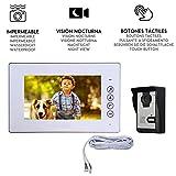 Nudito Kit Videoportero Universal con Botón Táctil para Casa, Interfono Intercomunicador (1 Monitor TFT LCD a Color de 7', 1 Cámara Infrarroja Exterior e Impermeable con Visión Nocturna)