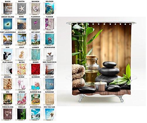 Duschvorhang, viele schöne Duschvorhänge zur Auswahl, hochwertige Qualität, inkl. 12 Ringe, wasserdicht, Anti-Schimmel-Effekt (180 x 200 cm, Spa)