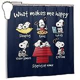 qinhanxinchengxianlibaihuodian Wasserdichter Duschvorhang Snoopy Zu Hause zu bleiben Macht Mich glücklich Dekorativer Badvorhang mit Haken