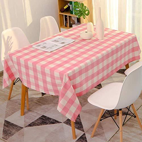 DAGUAI Poliéster algodón Rosa a Cuadros Mantel Salón Comedor Escritorio Partido-140 * 260cm, Mantel Manteles Lavable for Cocina Comedor Partido (Size : 140 * 300cm)